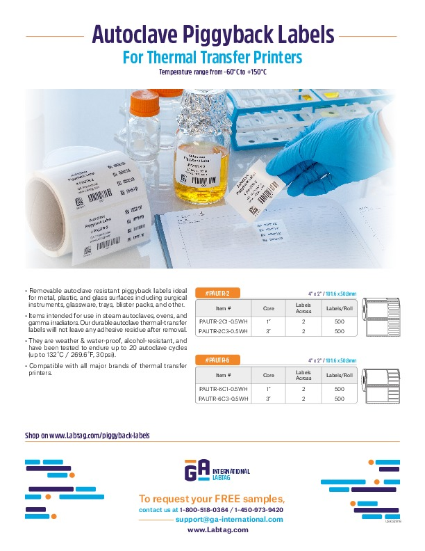 Autoclave PiggyBack Labels