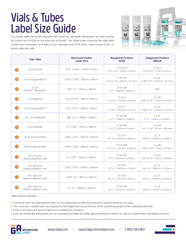 Vials & Tubes Label Size Guide
