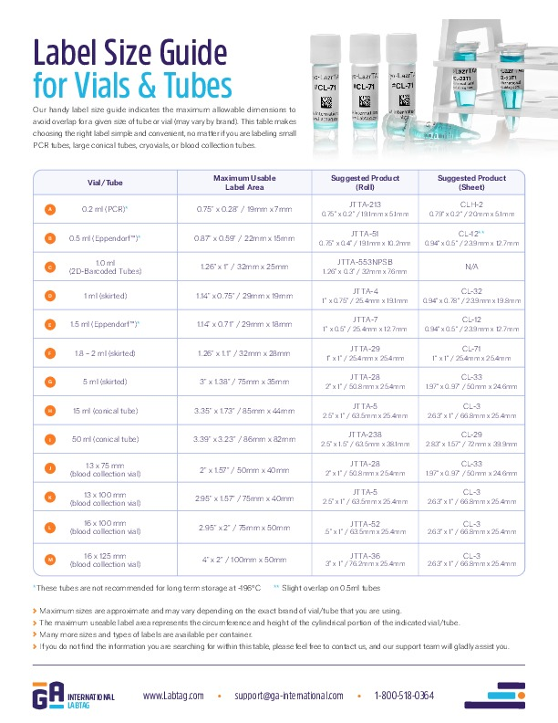 Label Size Guide for Vials & Tubes
