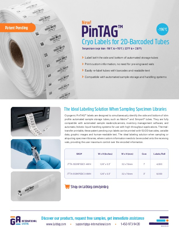 PinTAG™ - Cryo Labels for 2D-Barcoded Tubes