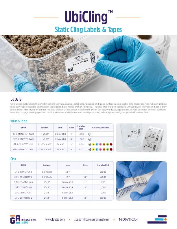 UbiCling™ - Statische Haftetiketten und Klebebänder